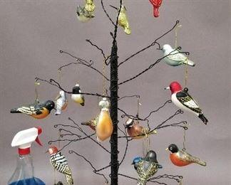 wire tree with glass bird ornaments - modern