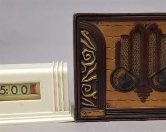 vintage clock and leather covered radio