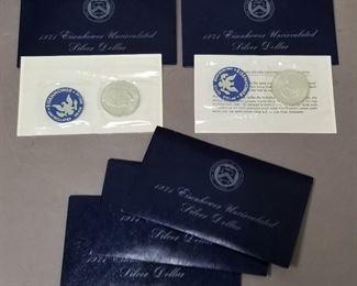 set of 5 Eisenhower 1971 uncirculated silver dollars (40%)