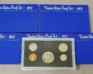 set of 5 1972 proof sets - 4 still sealed