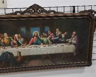 large carved wood framed Last Supper