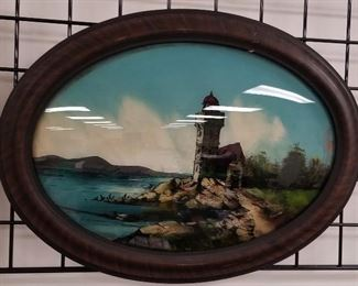 reverse painted lighthouse