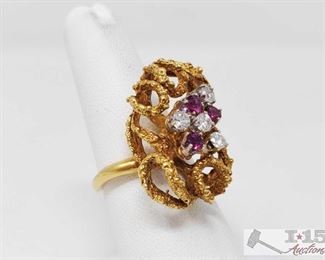 75: 18k Gold Diamond and Ruby Ring, 12.8g Weighs approx 12.8g, approx size 7.5 J45