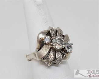 """105: 14k Gold Plated Diamond Ring, 8.1g Weighs approx 8.1g, adjustable band - sizes 6-10 Center Diamond is approx .75ct Marked """"14k KB""""  J13 1 of 5"""