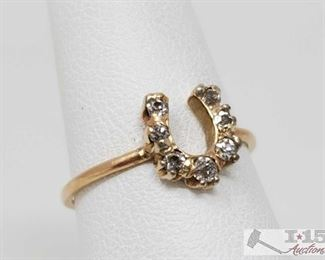 106: 14k Gold Horseshoe Diamond Ring, 1.2g Weighs approx 1.2g, approx size 6  J13 3 of 5