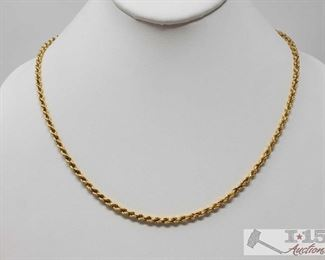 """111: 14k Gold Rope Chain, 5.8g Weighs approx 5.8g, measures approx 20"""" long  J10 1 of 3"""