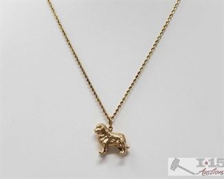 """112:14k Gold Necklace with Dog Pendent, 17.6g Weighs approx 17.6g, measures approx 18""""  J12 1 of 3"""