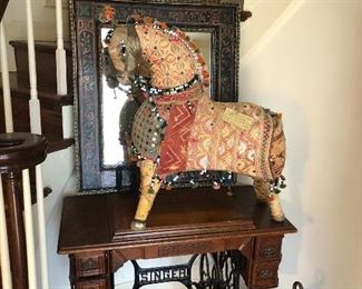 Singer sewing machine, mirror, Whimsical handmade horse