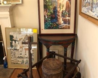 Antique cart, art, furniture