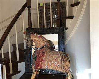 Singer sewing machine, fabric horse