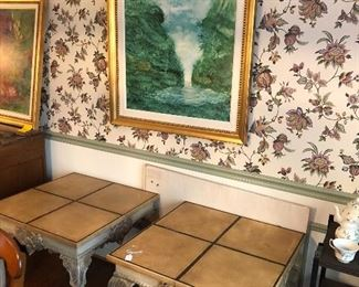 Side tables and art