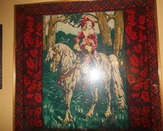 Framed antique wool carriage blanket