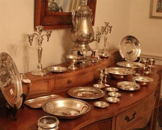 Sterling and Silverplate tableware and misc, buffet server, mirror