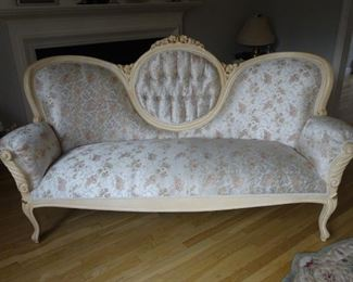 Victorian lounge set, custom made. We selected wood, color of wood and material.