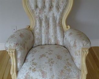 This is 1 of 2 single chairs with the Victorian set.