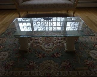 Side view of glass coffee table.
