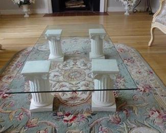 Glass coffee table.