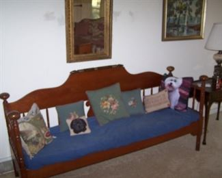 CHERRY SETTEE, NEEDLEPOINT PILLOWS & MIRROR IN GILT FRAME