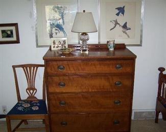 INLAID CHERRY CHEST, SIDE CHAIR, FRAMED PRINTS & SMALLS