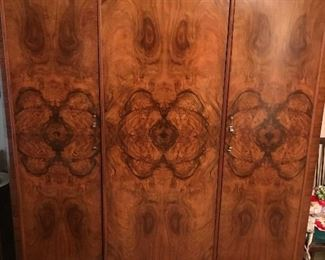Wylie & Lochhead Antique Mahogany Triple Wardrobe / Mirror