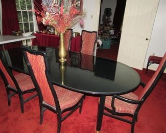 Black Lacquer dining room set with glass top