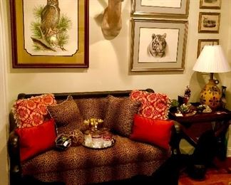 Just a sample of the wild things at our Thanksgiving weekend sale...zebra rug, genuine antelope mount, artist signed wild life lithographs and a custom newly upholstered and restored empire bench that has a stunning rear view as well!