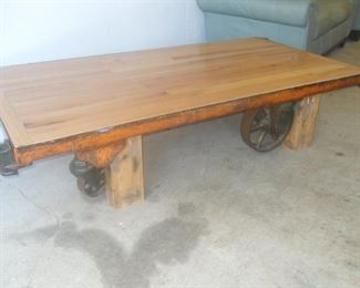 Hand made table made from  rail cart