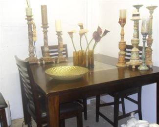 Cafe style dinette set includes 4 chairs