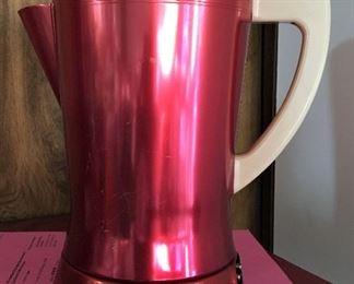 VINTAGE RED ALUMINUM ELECTRIC PERCULATOR COFFEE POT