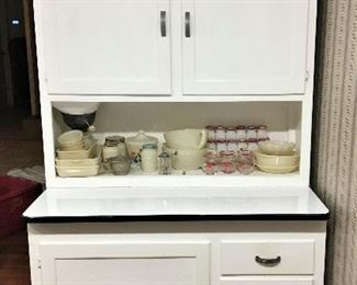ANOTHER AMAZING PIECE!  FABULOUS HOOSIER CABINET WITH ENAMEL TOP AND FLOUR SIFTER IN WONDERFUL CONDITION!  WE ALSO HAVE A SIDE CABINET MADE BY HOOSIER!  PICTURE COMING