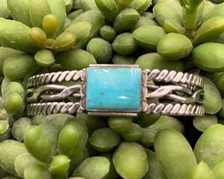 Newer sterling silver and turquoise statement cuff bracelet, Native American