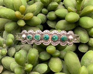 Vintage sterling silver snake eyes cuff bracelet with green turquoise, Native American Zuni