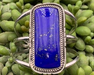 Vintage sterling silver and lapis statement cuff bracelet, Native American Navajo