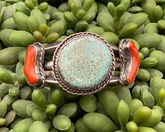 Vintage sterling silver, turquoise (I think it's from the #8 mine) and coral statement cuff bracelet, Native American