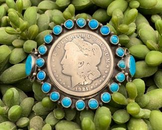 Vintage sterling silver and turquoise statement cuff bracelet with antique 1921 coin centerpiece, Native American