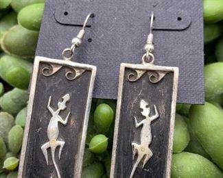 Vintage sterling silver statement earrings with lizard motif, Native American
