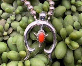 Vintage sterling silver and coral necklace with naja pendant, Native American Navajo