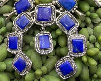 Vintage sterling silver and lapis statement squash blossom necklace, Native American Navajo