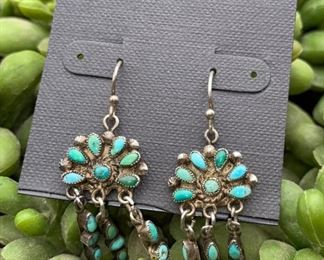 Vintage sterling silver and turquoise petit point chandelier earrings, Native American Zuni