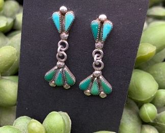 Vintage sterling silver and turquoise petit point drop earrings, Native American Zuni