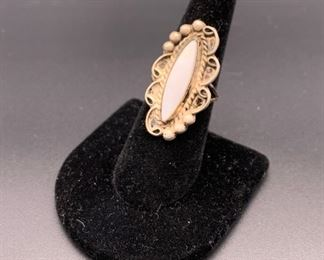 Vintage sterling silver and shell ring, Native American