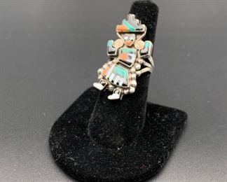 Vintage sterling silver inlaid kachina ring, Native American