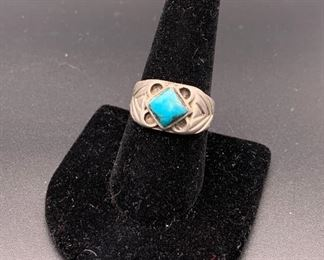 Vintage sterling silver and turquoise ring, Native American