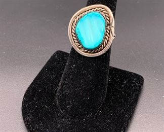 Vintage sterling silver and turquoise ring, Native American Navajo