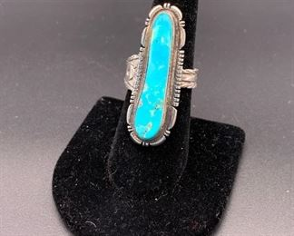 Vintage adjustable sterling silver and turquoise ring, Native American Navajo