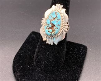 New sterling silver and turquoise ring, Native American designer Henry Yazzie