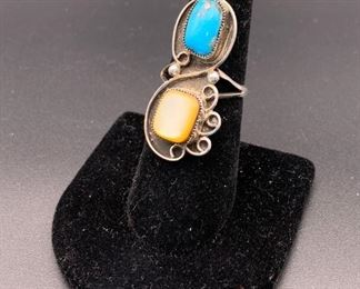 Vintage sterling silver, turquoise and shell ring, Native American Navajo