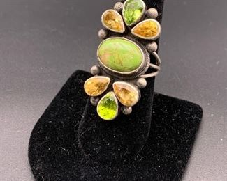 New sterling silver, green turquoise, citrine and peridot statement ring, Native American Navajo