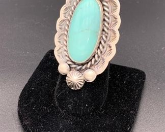 New sterling silver and turquoise ring, Native American Navajo