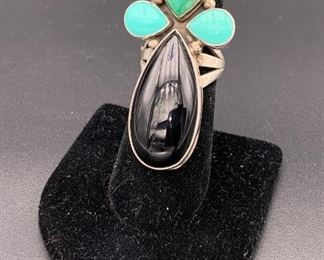 New sterling silver, onyx and turquoise ring, Native American Navajo
